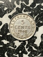 1940-C Newfoundland 5 Cent (Many Available) Circulated (1 Coin Only) Silver!