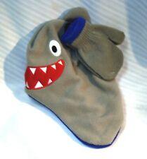 1 yr - Pre-K Boy's ABG Accessories Grey & Blue SHARK Poly Winter Mittens & Hat