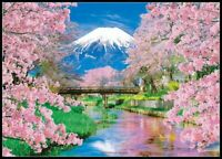 Mountain Fuji and Spring in Bloom -Chart Counted Cross Stitch Pattern Needlework