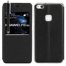 "Etui View Case NOIR Flip Folio Leather Cover pour Huawei P10 Lite 5.2"" + Stylet"