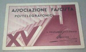 Tessera fascista PNF associazione postetelgrafonici Sassari Sardegna Mussolini