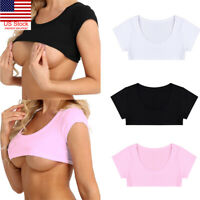 Sexy Summer Women's Party Tank Tops Cropped Short Sleeve Cotton Crop Tops Shirts