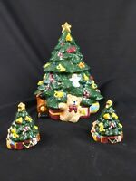 Vintage Ceramic Christmas Tree Cookie Jar and Salt and Pepper Shakers