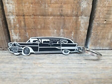 CADILLAC HEARSE KEYCHAIN RAT HOT ROD WAGON AUTO GOTH ROCKABILLY VLV PINUP FOB V8