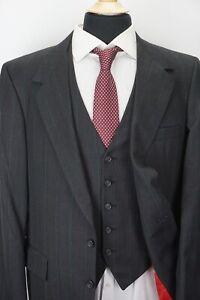Tom James Gray Windowpane Plaid Holland Sherry 100% Wool 3 Piece Suit Sz 42S