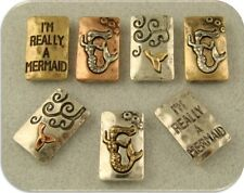 """2 Hole Beads """"I'm Really a Mermaid"""" Engraved 3T Silver Copper Gold Sliders QTY 7"""
