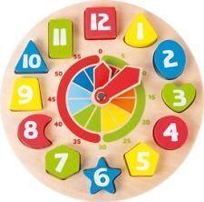 Orologio didattico in legno con Forme e numeri per imparare l'orario.