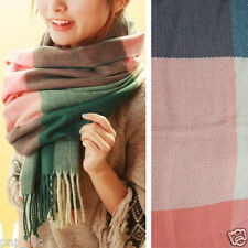 Pink Women Winter Long Scarf Wrap Blanket Oversized Shawl Plaid Check Tartan OS