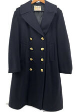 Vintage Fox Knapp Woman's  Pea Coat Navy Wool Double Breasted Lined Size 38