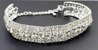 New Silver Bracelet Crystal Diamante Rhinestone Bangle Gem Bridal Wedding Design