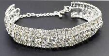 New Silver Bracelet Crystal Diamante Rhinestone Bangle Gem Bridal Wedding Bling