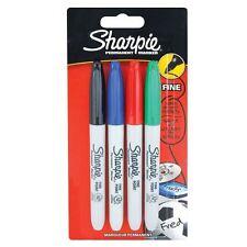 Sharpie Permanent Marker Pens - Fine - Assorted Coloured Markers x 4 - School