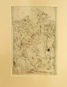 Unknown Artist, Pencil on Paper, No.31, ASCENSION OF MADONNA, 17th-18th Century