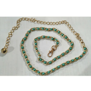 Women Girls Fashion Thin Hook Buckle Waist Belt Strap With Imitation Pearl Bead