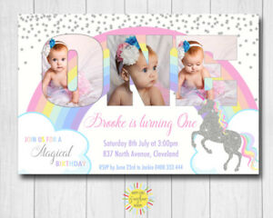 Custom Printable Girls Birthday Photo Words Invitation Unicorn Rainbow Silver