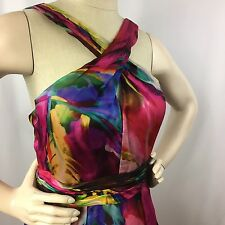 Theia Sleeveless Dress Size 8 Multi-Color Pink Blue Knee Length Cocktail Formal