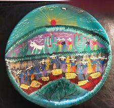 """Vintage 12"""" Mexican Folk Art  Clay Handpainted Wall Plaque Pueblo Plate"""