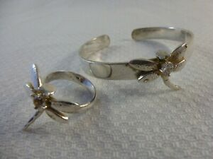 Vintage 925 Silver Dragonfly Bangle and Ring size P