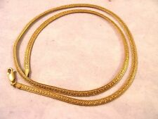 """14K Yellow Gold Italy Sigma Soft Etched Omega Snake 18"""" Necklace 8.4gr 3.3wide"""