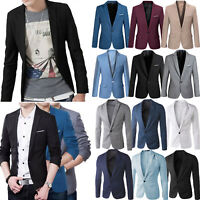 Mens One Button Blazer Suit Slim Fit Formal Business Jacket Coat Top Outwear