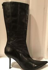 Aldo Vero Cuio Black Leather High Heel Pointy Toe Boots Italy Made Sz 7 US  / 37