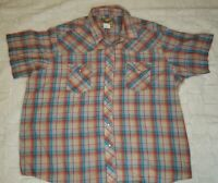 Wrangler Western Fashion Pearl Snap Short Sleeve Shirt multi Plaid Men's 3XL EUC