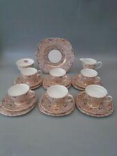 1940's COLCLOUGH GOLD CHINTZ  21 PIECE BONE CHINA TEA SET