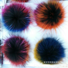 1PCS Real Raccoon Fur Colorful Pom Pom Ball for Mobile Strap Bag