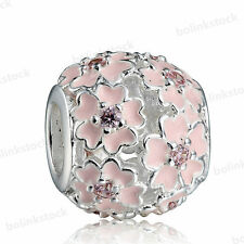 Pink 925 European Sterling Dangle CZ Silver Charm Bead for Charms Bracelet Chain