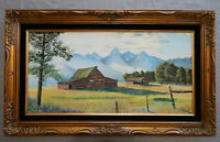 GRAND TETON MOUNTAINS original oil on canvas painting artist signed framed