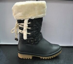 WOMENS LADIES FUR LINED QUILTED FLAT CALF KNEE WINTER SNOW BOOTS BLACK WARM