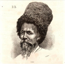Antique print Cossack portrait man 1868 Caucasus kozacy