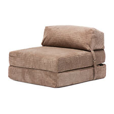Jumbo Cord Camel Fold out Single Guest Z Bed Chair Folding Mattress Sofa Futon