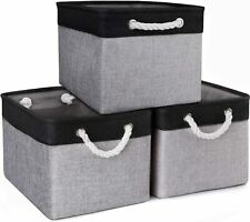 Storage Baskets [3-Pack] Collapsible Canvas Storage Bins for Toys Shoes Decorati