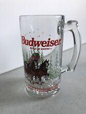 Budweiser Clydesdale 1989 Christmas/Holiday Glass Beer Mug Rare