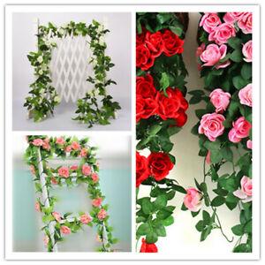 1X13 Blumen 8.2ft Künstliche Rose Silk Blume Garland Vine Hochzeit Party Dekor