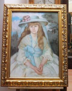 LARGE PASTEL PORTRAIT YOUNG GIRL MONOGRAMMED CG 1880 FREE SHIPPING TO ENGLAND