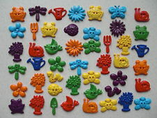 Flower ladybird butterfly + other bright garden themed mixed buttons 50 grams