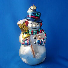 """7"""" blown glass hand decorated Snowman Christmas ornament free standing too"""