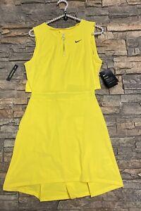 Nike Women's Flex Ace Golf Tennis Dress Yellow $120 Dri-Fit NEW XS Open Back