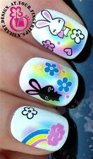 NAIL ART WRAPS WATER TRANSFERS STICKERS DECALS SET BUNNY RABBITS RAINBOWS #280