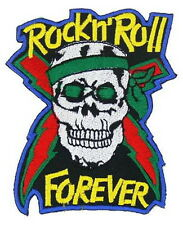 Rock n Roll Forever Skull Punk Rock Embroidered Iron on Patch
