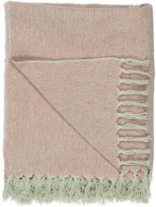 IB Laursen Decke Sofadecke creme rosa gemustert 130 x 160cm Wolldecke Tagesdecke