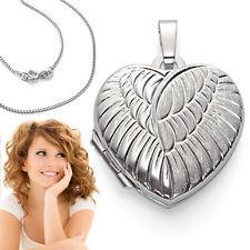 Foto Medaillon Engel Flügel Herz Amulett Weiß Gold 375 Anhänger mit Silber Kette