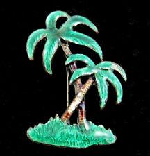 Palm Trees Green Enamel Pin Vintage Brooch Island Tropical Tiki Bar C Clasp