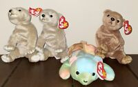 Lot of 4 Ty Beanie Babies Bears Sammy 2 Almond & Pecan w/ Tags Exc Cond 98-99