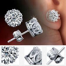 Charm Women Elegant Silver Crystal Rhinestone Crown Ear Stud Earrings Jewelry