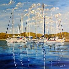 Signed PRINT of ORIGINAL OIL Painting Sailboats Boating Mountain Lake