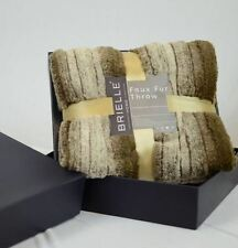 """Brielle Faux Fur Reversible Throw 50"""" by 70"""" Green Heron 159314 NEW"""