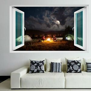 Campfire Camping Tents Cloudy Sky Wall Art Stickers Mural Decal Home Decor ER13